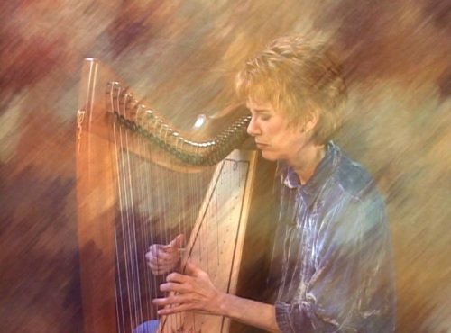 Laurie Riley at the harp